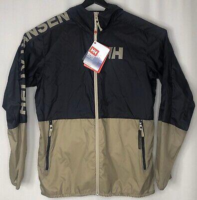HH Helly Hansen Men Active Windbreaker Jacket Hooded Lightweight Size:L Navy NEW