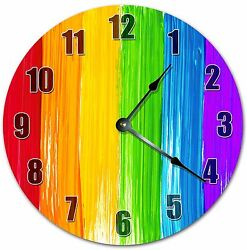 10.5 RAINBOW PAINT CLOCK - COLORFUL CLOCK - Large 10.5 Wall Clock - 4007