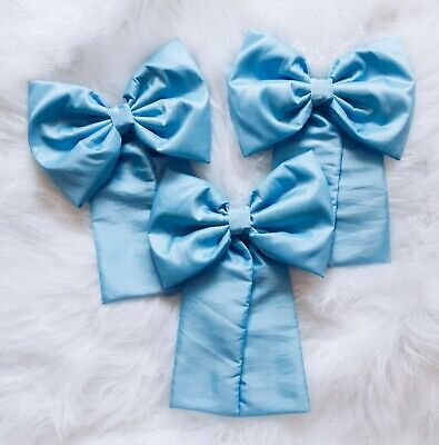 Nursery Decor Baby Boys Large Cot Bow Princess Bedding Set Baby Blue x 3 Bows for sale  Shipping to South Africa