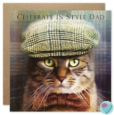 Father's Day Card CELEBRATE IN STYLE DAD to from the Tabby Cat Lover Juniperlove
