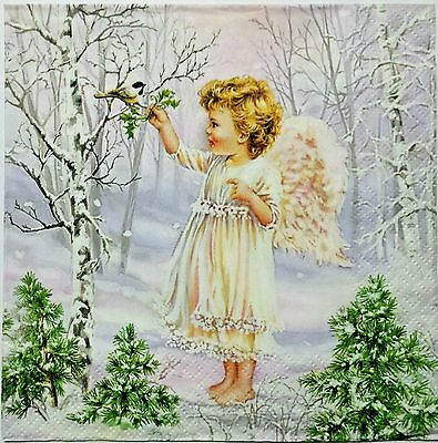 ANGEL WINTER FOREST 2 individual  LUNCH SIZE paper napkins for decoupage 3-ply