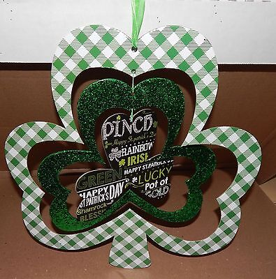 "St.Patricks Day Irish Green Wall Hanging Decor Mobile Shamrock 14"" x 14"" 103V"