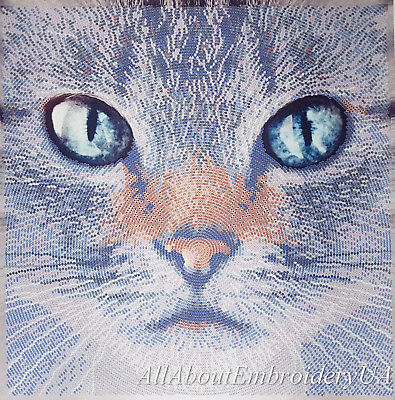 Bead Embroidery kit Brown Cat Beaded cross stitch Needlepoint Handcraft kit 3D