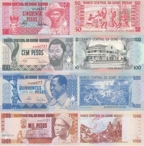 Guinea-Bissau 4 Note Set: 50 to 1000 Francs (1990/93) p10, p11, p12 & p13b UNC
