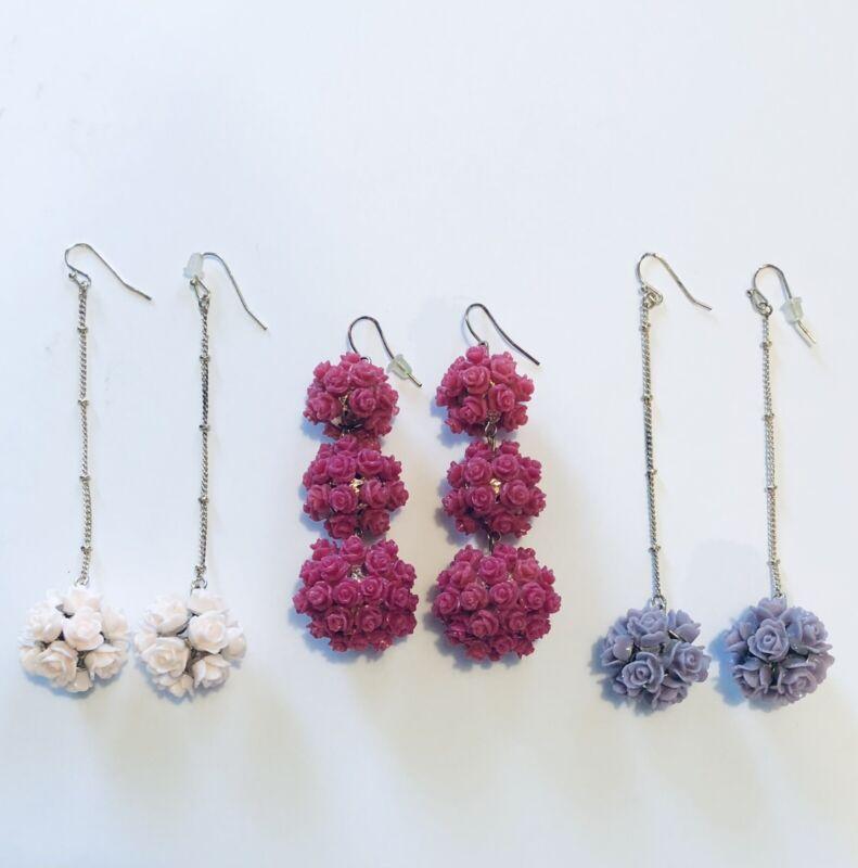 Vintage Floral Flower Ball Dangle Earrings Three Pair Pale Pink Hot Pink Purple