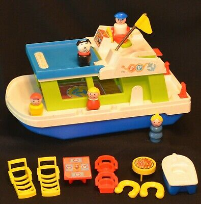 VINTAGE 1970's FISHER PRICE LITTLE PEOPLE #985 HOUSEBOAT 100% COMPLETE