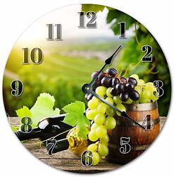 10.5 GRAPES AND WINE CLOCK - Living Room Clock - Large 10.5 Wall Clock - 4029