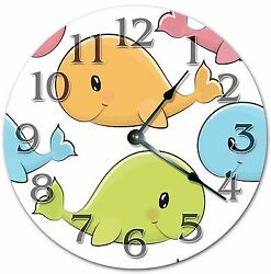 10.5 CUTE COLORFUL BABY WHALES - KID'S CLOCK - Large 10.5 Wall Clock - 4006