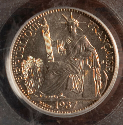 Vietnam IndoChina 1937 10 Cents PCGS MS67 Sparkling White Coin w Copper Toning !