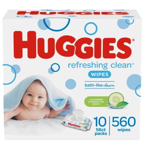 HUGGIES Refreshing Clean Baby Wipes, Scented, 10 Flip-Top Pks(560 Wipes Total)