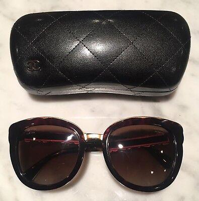 Chanel Sunglasses & Case Floral Bijou Cat-eye Brown Tortoise Gold 56-21-145