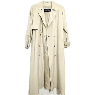 Anne Klein Womens Trench Coat Long Khaki Double Breasted W/Belt, Size 8