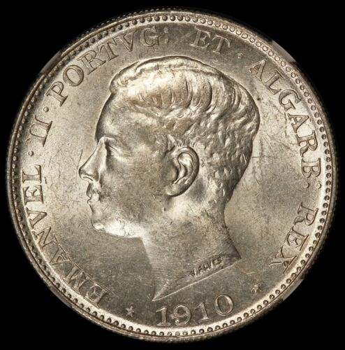 1910 Portugal 500 Reis Marquis de Pombal Silver Coin - NGC MS 62 - KM# 557