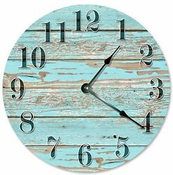 OLD BLUE WORN Wood Clock - Large 10.5 Wall Clock - 2112