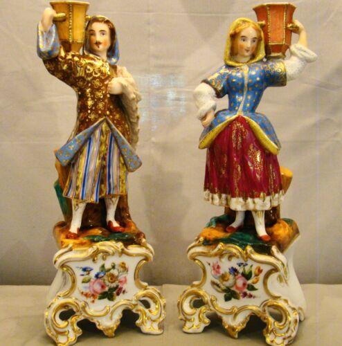 """Rare Elegant Pair Antique Old Paris Porcelain Empire Figural Candlesticks 12""""+"""