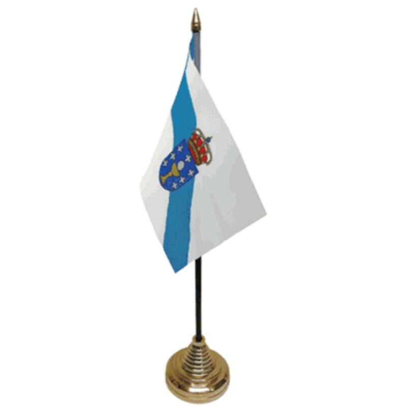 "GALICIA DESKTOP TABLE FLAG 6""X4"" 15cm x 10cm flags SPAIN SPANISH"