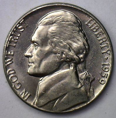 1959 D Jefferson Nickel UNC Five Cent Choice BU Coin from Roll Made USA #R