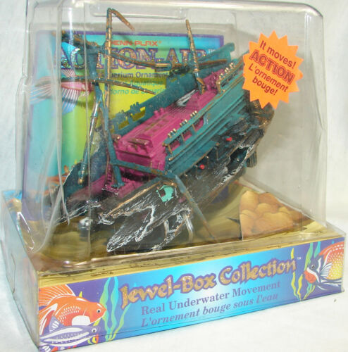 Penn Plax Animated Underwater Pirate Ship,Bubbles and Movement,Aquarium Toy NEW