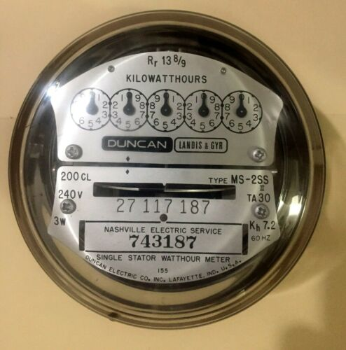 L&G DUNCAN WATTHOUR METER (KWH) MSII, 5 POINTER STYLE, 4 LUGS, 240V, 200A, FM 2S