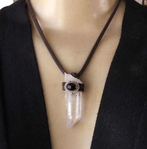 Artisan Necklace Rock Crystal Quartz Point Antique 925 Turquoise Centerpiece