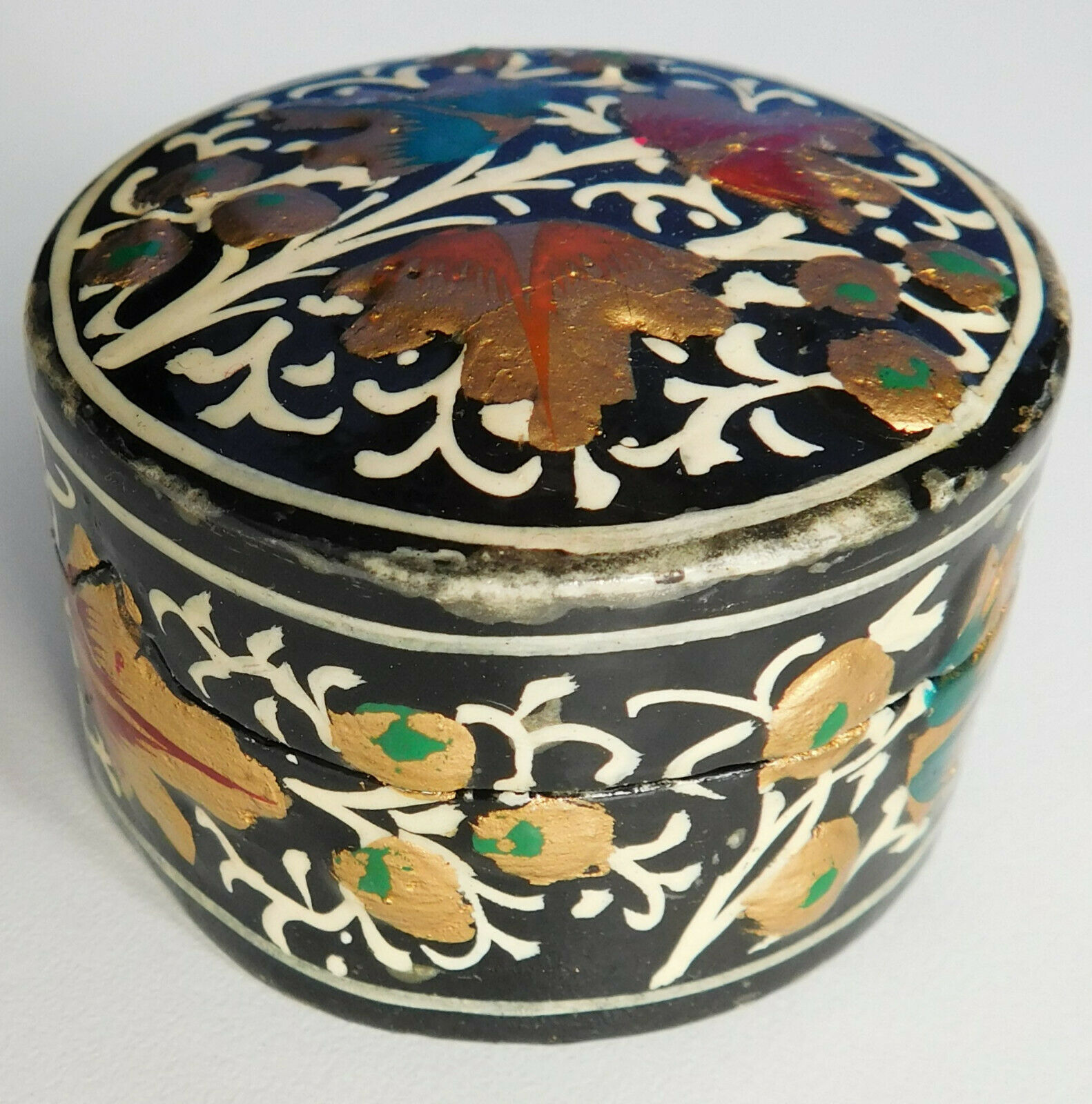 "Papier mache trinket or ring box Indian lacquer Kashmir craft work 2"" wide"