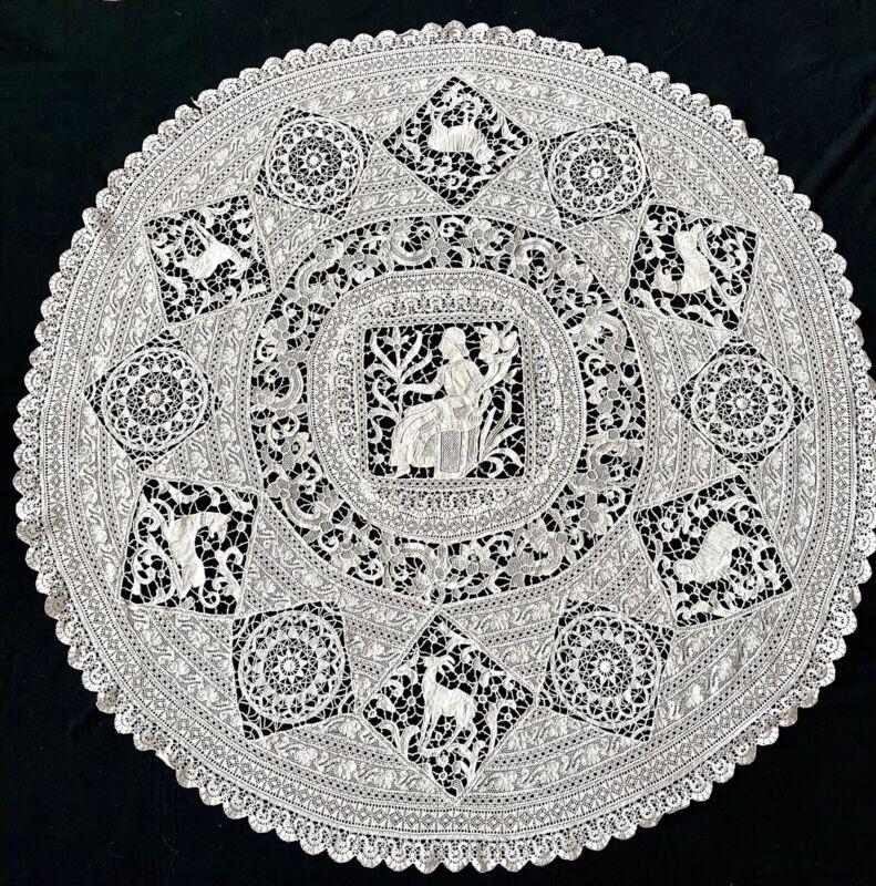 Antique Needlelace Figural Centerpiece Tablecloth w/ Italian Reticella Lace