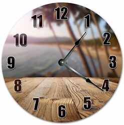10.5 PALM TREES VIEW ON BEACH CLOCK - PALM TREES - Large 10.5 Wall Clock 4033
