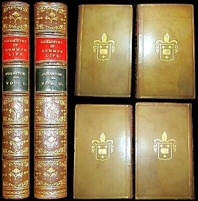 1871 CHEMISTRY COMMON LIFE 2V SET LEATHER PLANT TEA DRUGS ALCOHOL OPIUM BEER MAP