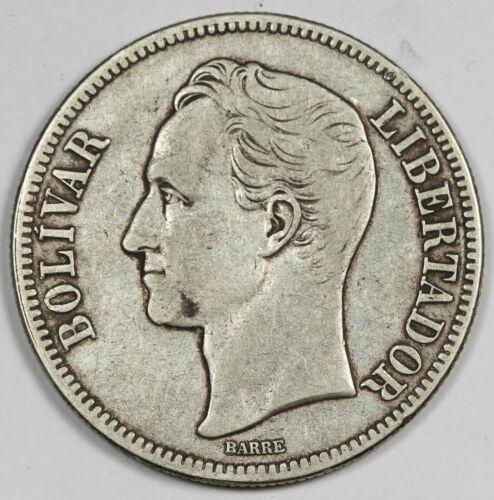 Venezuela 1935 25 Gram Silver 5 Bolivares Coin VF Y# 24.2
