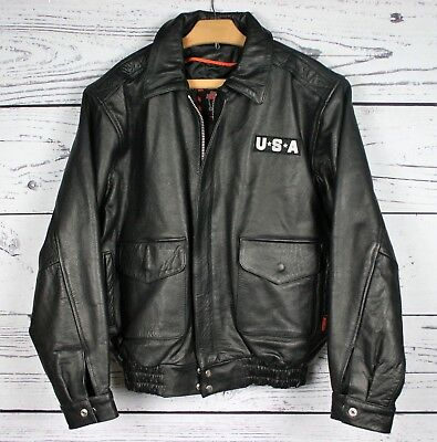 - INTERSTATE Heavy Black Leather Motorcycle Jacket w/USA Flag & Eagle Patch Sz. L