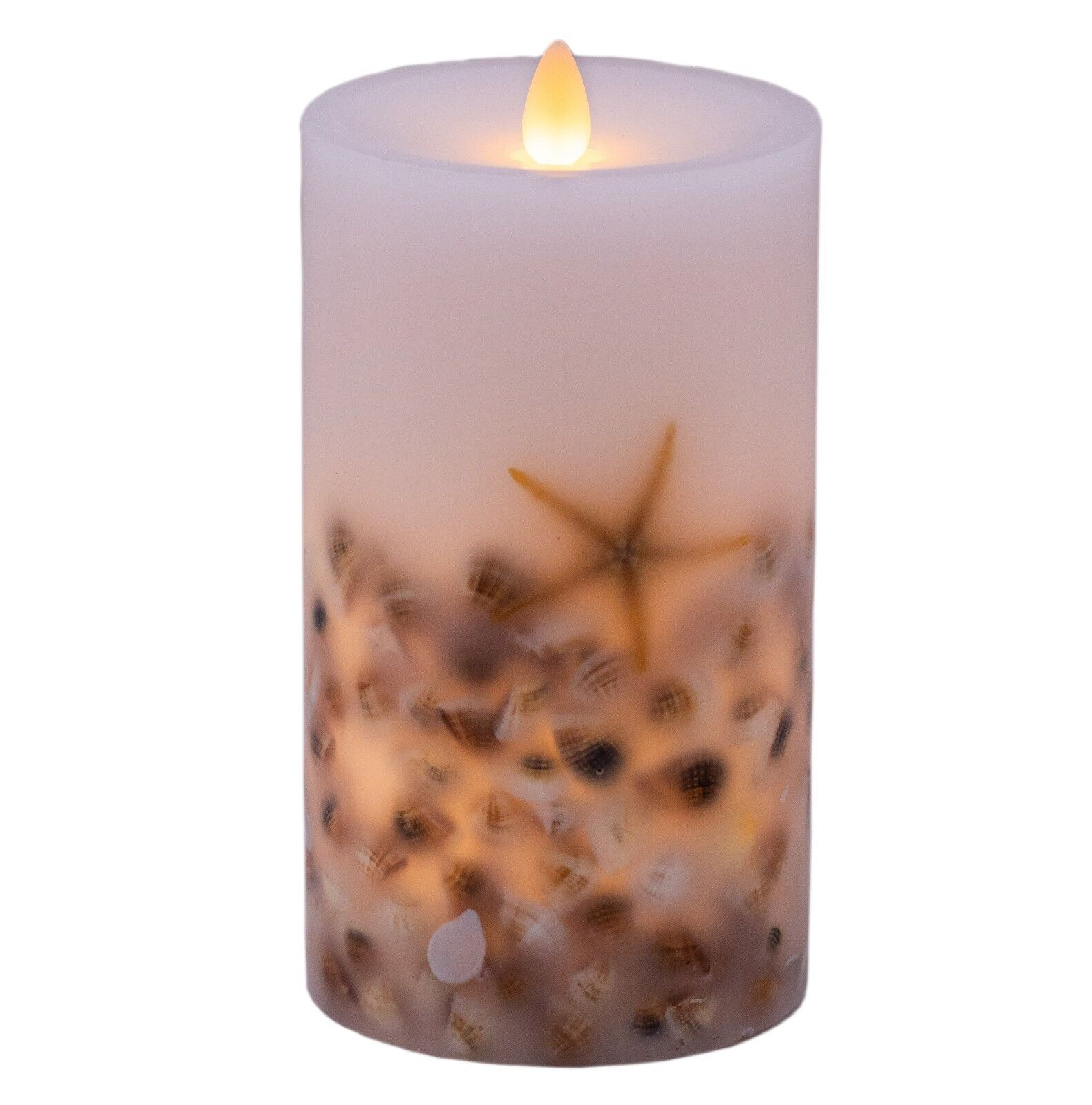 Hoogalife LED Flameless Candle,Real Wax,Moving Wick,Seashell