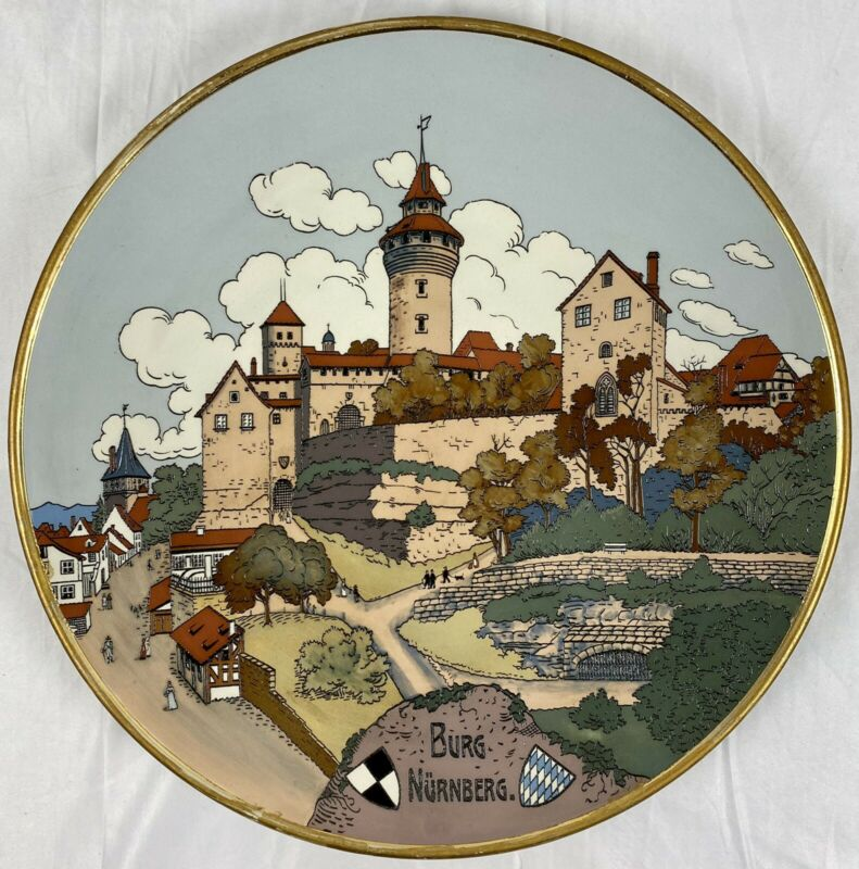 "Rare Error Mettlach 3183 Nürnberg Nuremberg Castle Etched 17"" Plaque Charger"
