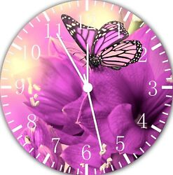 Purple Butterfly Frameless Borderless Wall Clock For Gifts or Home Decor E122