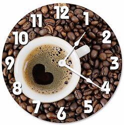 COFFEE CUP HEART Shape Clock - Large 10.5 Wall Clock - 2070