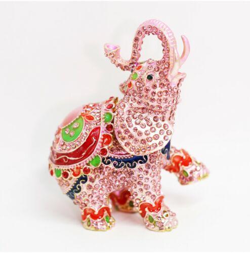 Bejeweled Enameled Trinket Box/Figurine With Rhinestones-Trunk Up Pink Elephant