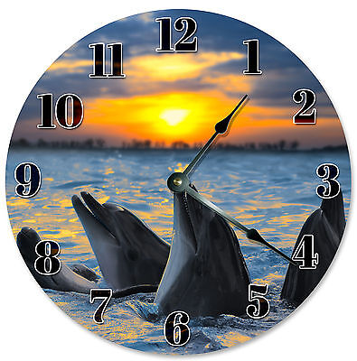 SINGING DOLPHINS CLOCK Large 10.5 inch Round Wall Clock PORPOISE SUNSET - 2101 Blue Dolphins Wall Clock