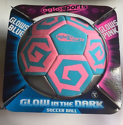 OGLO  SOCCER BALL  GLOWS IN THE DARK  GLOWS PINK AND BLUE SIZE 4 (Glow In Dark Soccer Ball)