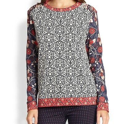 """""""TORY BURCH """" Ronnie Pullover Mixed Print Top Red/Cream/Navy - SZ XS - RT $250"""