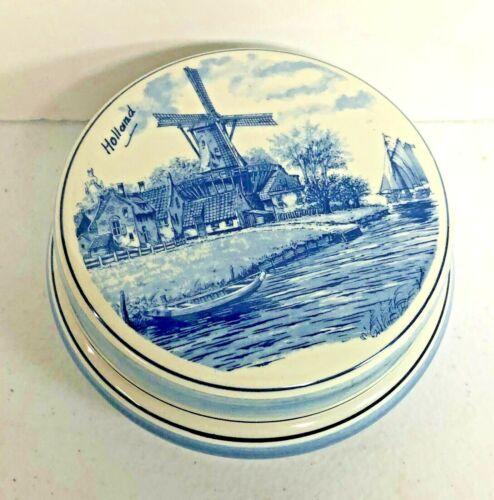 Vintage HOLLAND BLUE DELFT Powder Box Vanity
