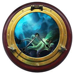 10.5 Octopus Brass Porthole Wall Clock Underwater Home Wall Decor - 7142_FTLLC