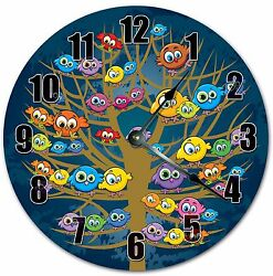 10.5 CUTE COLORFUL BIRDS - FLOCK OF BIRDS CLOCK - Large 10.5 Wall Clock - 4049