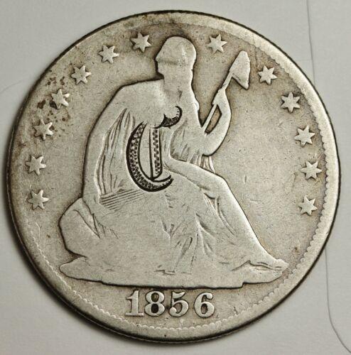 """1856 Seated Liberty Half.  Love Token.  """"C"""" on Obverse.    138706"""