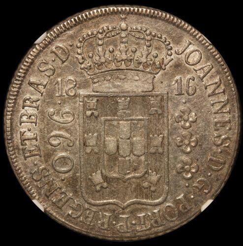 1816-R Brazil 960 Reis Silver Coin - NGC AU 50 - KM# 307.3