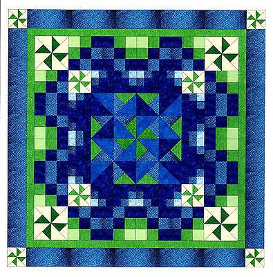 Easy Quilt Kit/NinePatch/Pinwheel Medallion/Blue/Pre-cut Fabrics Ready To Sew!