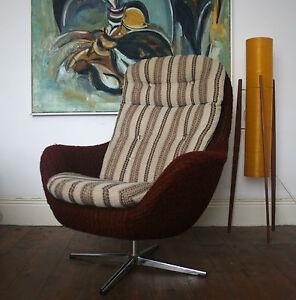 Retro egg chair swivel fibre glass vintage 60s 70s for 70s egg chair