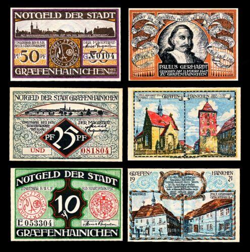 Graefenhainichen Notgeld / 1921 / Complete Set of Three Notes - UNC