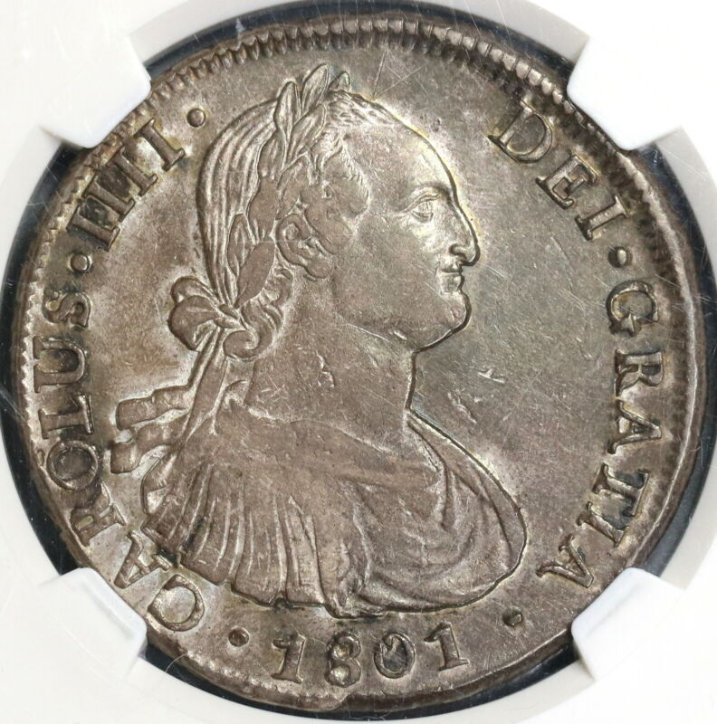 1801-So NGC AU 50 Chile 8 Reales Charles IIII Spain Colony Coin (19071401C)