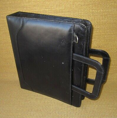 Monarch Franklin Covey Black Leather 1.75 Rings Zip Plannerbinder W Handles