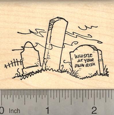 Halloween Graveyard Rubber Stamp with Whistle Tombstone Cemetery Scene J22417 - Halloween Graveyard Scenes