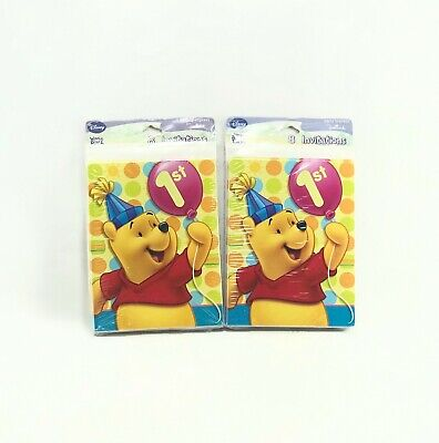 Disney Winnie the Pooh 1st Birthday Party Invitations Supplies Invites 16 Count -